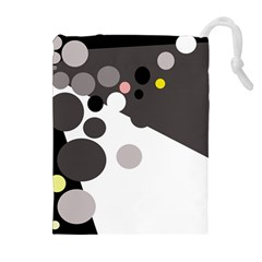 Gray, yellow and pink dots Drawstring Pouches (Extra Large)