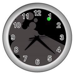Colorful dots Wall Clocks (Silver)
