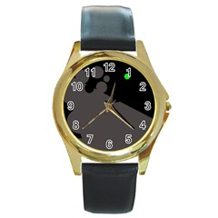 Colorful dots Round Gold Metal Watch