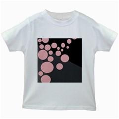 Pink dots Kids White T-Shirts