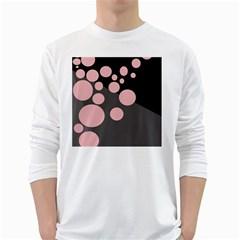 Pink dots White Long Sleeve T-Shirts