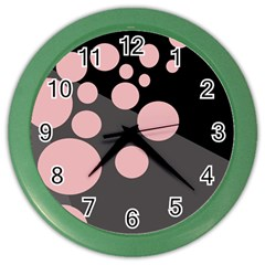 Pink dots Color Wall Clocks