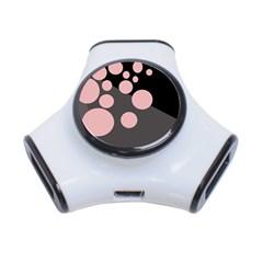 Pink dots 3-Port USB Hub