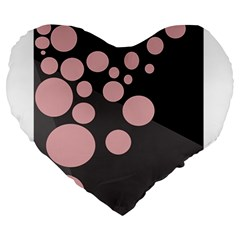 Pink dots Large 19  Premium Heart Shape Cushions