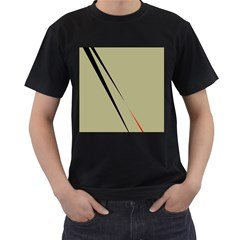 Elegant lines Men s T-Shirt (Black) (Two Sided)