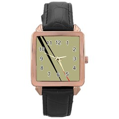 Elegant lines Rose Gold Leather Watch