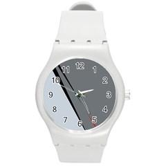 Elegant gray Round Plastic Sport Watch (M)