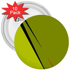 Yellow elegant design 3  Buttons (10 pack)