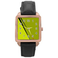 Yellow elegant design Rose Gold Leather Watch