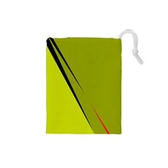 Yellow elegant design Drawstring Pouches (Small)