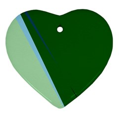 Green design Heart Ornament (2 Sides)