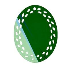 Green design Oval Filigree Ornament (2-Side)