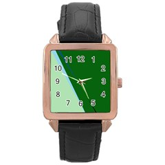 Green design Rose Gold Leather Watch