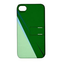 Green design Apple iPhone 4/4S Hardshell Case with Stand
