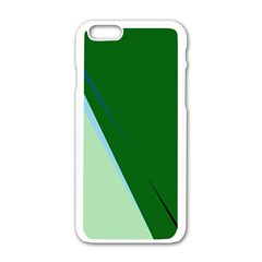 Green design Apple iPhone 6/6S White Enamel Case