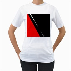Black and red design Women s T-Shirt (White) (Two Sided)