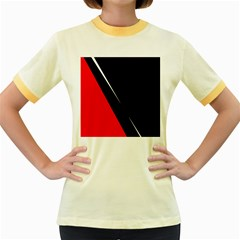 Black and red design Women s Fitted Ringer T-Shirts