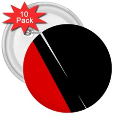 Black and red design 3  Buttons (10 pack)