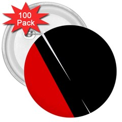 Black and red design 3  Buttons (100 pack)