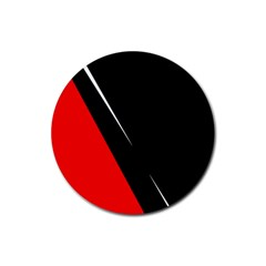 Black and red design Rubber Round Coaster (4 pack)