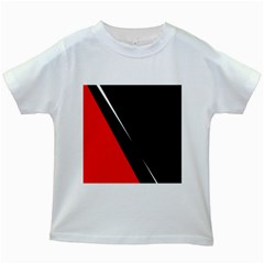 Black and red design Kids White T-Shirts