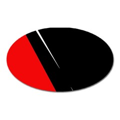 Black and red design Oval Magnet