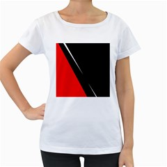 Black and red design Women s Loose-Fit T-Shirt (White)