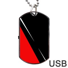 Black and red design Dog Tag USB Flash (One Side)