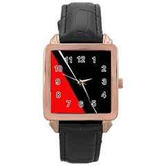 Black and red design Rose Gold Leather Watch