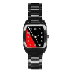 Black and red design Stainless Steel Barrel Watch