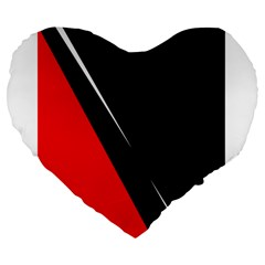 Black and red design Large 19  Premium Flano Heart Shape Cushions