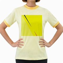 Yellow design Women s Fitted Ringer T-Shirts