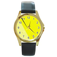 Yellow design Round Gold Metal Watch