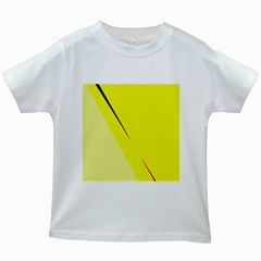 Yellow design Kids White T-Shirts