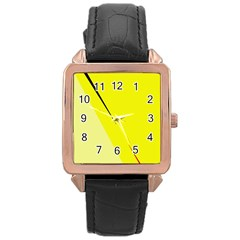 Yellow design Rose Gold Leather Watch