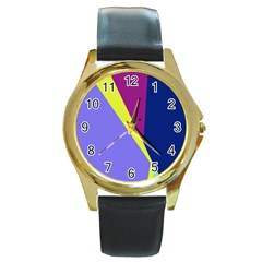 Geometrical abstraction Round Gold Metal Watch