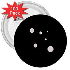 White dots 3  Buttons (100 pack)