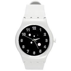 White dots Round Plastic Sport Watch (M)