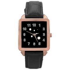 White dots Rose Gold Leather Watch