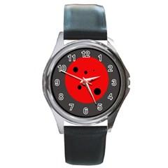 Red circle Round Metal Watch