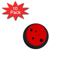 Red circle 1  Mini Buttons (10 pack)