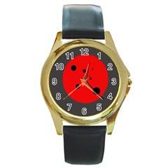 Red circle Round Gold Metal Watch