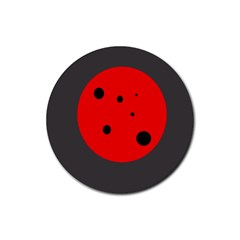 Red circle Rubber Round Coaster (4 pack)
