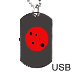 Red circle Dog Tag USB Flash (Two Sides)