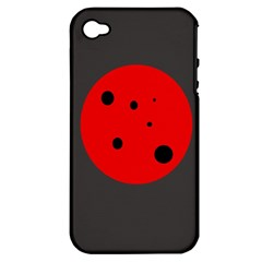 Red circle Apple iPhone 4/4S Hardshell Case (PC+Silicone)