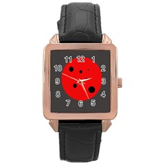 Red circle Rose Gold Leather Watch