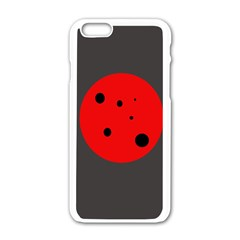 Red circle Apple iPhone 6/6S White Enamel Case