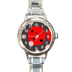 Red and pink dots Round Italian Charm Watch