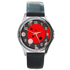 Red and pink dots Round Metal Watch