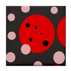 Red and pink dots Tile Coasters